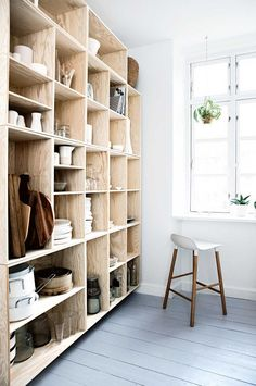 A whole wall of open shelving with timber cube boxes - kitchen ~ Mette Helena Rasmussen
