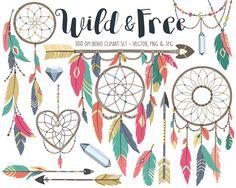 Tribal Clipart Boho Tribal Clip Art Set Dream by KennaSatoDesigns
