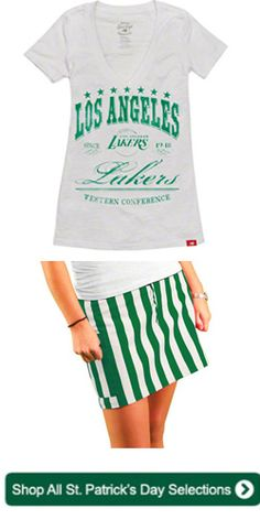 Los Angeles Lakers Women's St. Patrick's Day Outfit #Lakers www.fansedge.com/LA-Lakers-St-Patricks-Day-Gear-Merchandise-_-1541791048_PG.html?social=pinterest_22613_stpats_wlakers