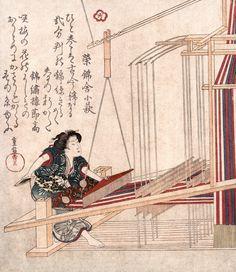 Hataori (Weaving) Woodcut Print, Japanese, Art Poster, Museum Canvas Print in Art, Prints | eBay