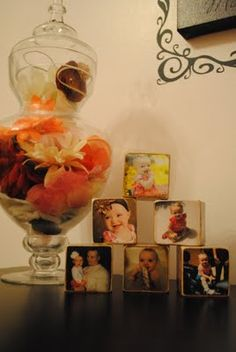 DIY picture blocks for girl's room. I also love the apothecary jar that holds all the hair bows and headbands.