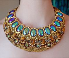 Cleo Necklace  Bib necklace collar beaded by ASoderstromJewelry