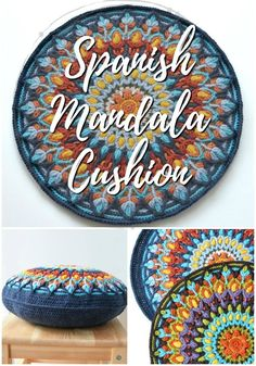 Stunning Spanish Mandala Crochet pattern to use for a cushion! I love this gorgeous mandala pattern! Check out these 10 incredible crochet patterns, perfect to make this summer! Crochet Winter, Crochet Home, Free Crochet, Knit Crochet, Dishcloth Crochet, Crochet Afghans, Crochet Blankets, Double Crochet, Crochet Stitches