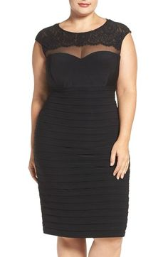 Xscape Lace & Illusion Yoke Shutter Pleat Cocktail Dress (Plus Size) available at #Nordstrom