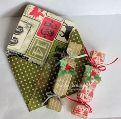 Sweet Stamps- Red and Green - tutorial with pictures for making the poppers with the envelope punch board on blog.