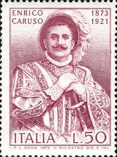 ITALY CIRCA 1973 stamp printed by Italy shows Enrico Caruso Operatic Tenor circa 1973 Stock Photo