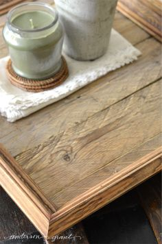 How to Create a Reclaimed Wood Tray from a Picture Frame - anderson + grant Woodworking Software, Popular Woodworking, Wood Picture Frames, Picture On Wood, Diy Wood Projects, Wood Crafts, Diy Crafts, Diy Candles Easy, Aging Wood