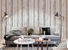 Birch Tree Peel & Stick Wallpaper  wall decal  wall por NouWall
