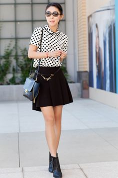 Kate Spade SIERRA TOP,J.Crew GOODWINN PURSE, Tibi Piper boots, Parker 'Kym' High/Low Skirt, Tom Ford 'Candice' Sunglasses, Chanel belt, work business casual style, fall style, black and white fashion
