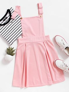 Shop Pleated Zip Up Back Pinafore Dress online. SheIn offers Pleated Zip Up Back Pinafore Dress & more to fit your fashionable needs. Pastel Fashion, Kawaii Fashion, Cute Fashion, Girl Fashion, Womens Fashion, Trendy Fashion, Ad Fashion, Tween Fashion, School Fashion