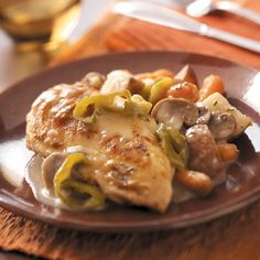 Chicken and Red Potatoes Recipe -Try this moist and tender chicken-and-potato dish with its creamy, scrumptious gravy tonight! Just fix it in the morning, then forget about it until dinner time. —Michele Trantham, Waynesville, North Carolina