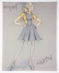 "Watercolor,  pencil, and pen on paper, design sketch by Edith Head, marked ""Airport"" from the motion picture Airport (Universal Pictures, 1970)."