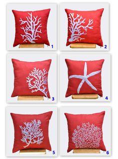 Starfish Decorative Pillow Cover, White Starfish Embroidery Red Orange Linen, Throw Pillow Cover 18 x 18, Beach Pillow, Orange Pillow Case