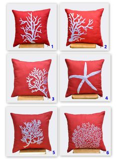 starfish decorative pillow cover white starfish embroidery red orange linen throw pillow cover 18 - Coral Decorative Pillows
