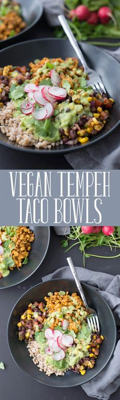 Vegan Tempeh Taco Bowls! These bowls are a MUST-MAKE. Spicy tempeh taco filling, farro, black bean and corn salsa, pickled radishes and a creamy avocado-jalapeno sauce. | delishknowledge.com