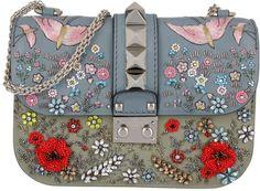 Valentino Tasche - Glam Lock Embellished Floral Crossbody Dove/Olive - in blau - Umhängetasche für Damen