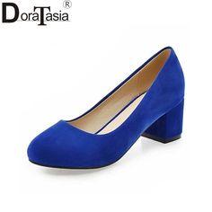 952dc17b6 Doratasia/плюс Размеры 32–43 женские туфли лодочки мода квадратный каблук  обувь из органической кожи женская повседневная обувь из флока туфли  лодочки на ...