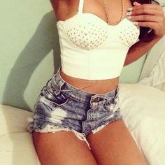 High-waisted shorts and bustier top Sexy Outfits, Summer Outfits, Cute Outfits, Fashion Outfits, Fashion Trends, Fashion Lookbook, Summer Shorts, Fashion Clothes, Glam Rock