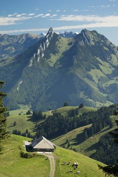 Cheese producing Fromagerie dâAlpage amongst mountain scenery of Moleson near Gruyeres, Switzerland