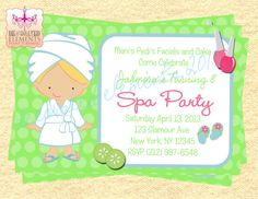 Spa Party Invitations by ButtafliCrafts on Etsy, $13.00