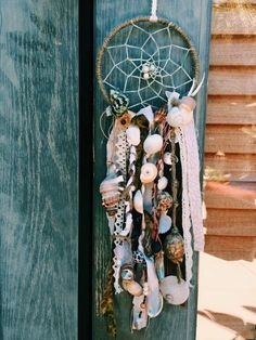 White oceanic dreamcatcher with seashells by HansyandRay on Etsy