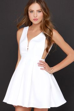 Hopes and Dreams Ivory Skater Dress at Lulus.com!