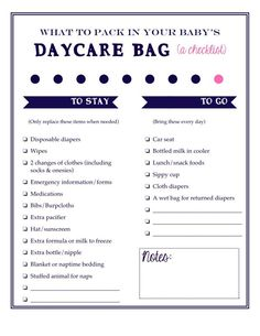 What to pack in an organized daycare bag for working moms: a free printable checklist