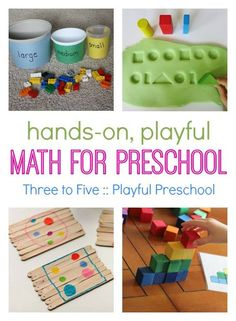 hands-on math for preschool :: preschool math games :: fun math activities :: shapes, patterns, counting Preschool At Home, Preschool Classroom, Preschool Learning, Kids Learning, Classroom Ideas, Visual Learning, Outdoor Learning, Activities For 5 Year Olds, Small Group Activities