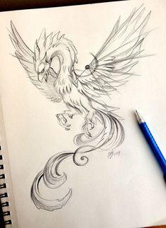 53 Super Ideas For Tattoo Dragon Sketch Deviantart Tattoo Dragon And Phoenix, Phoenix Drawing, Phoenix Bird Tattoos, Phoenix Tattoo Design, Phoenix Art, Future Tattoos, New Tattoos, Body Art Tattoos, Clock Tattoos