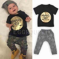 2pcs kids baby boys T-shirt + Pants Infant Cotton Clothes Outfits Sets 0-36 M