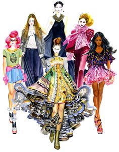 Girls in Style-illustration by Sunny Gu #fashion #illustration #fashionillustration