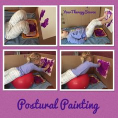 Here is a fun twist on painting that will also encourage strengthening of the core muscles. Hang up some paper on the wall. We hung it up on some cardboard in case the kids paint off the paper. Put some paint on a tray. The child can lay of the floor o Occupational Therapy Activities, Pediatric Occupational Therapy, Pediatric Ot, Gross Motor Activities, Sensory Activities, Physical Activities, Daily Activities, Postural, Brain Gym