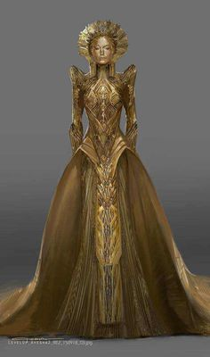 Dresses Alternate Ayesha Costume Designs For Guardians Of The Galaxy 2 Using A Room Humidifier For H Look Fashion, Fashion Art, High Fashion, Fashion Design, Elizabeth Debicki, Fantasy Dress, Fantasy Outfits, Fantasy Clothes, Mode Outfits