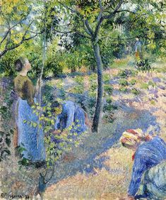 Apple Picking - Camille Pissarro (French, 1830-1903) Impressionist, Pointillist Painter