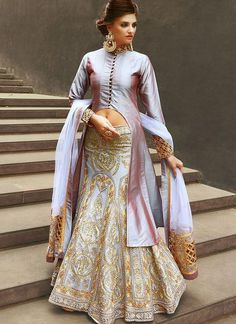 Party Wear Embroidered Net Lehenga in Grey