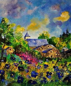Artwork >> Pol Ledent >> Summer Houdremont (oil on canvas) - Inches x 28 Inches) Watercolor Landscape, Landscape Art, Landscape Paintings, Watercolor Art, Cool Paintings, Original Paintings, Home Art, Wall Art Prints, Art Photography