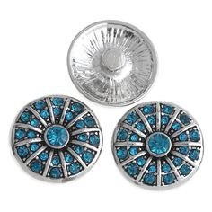 1PC Snap Button Fit Snap Bracelets Blue Rhinestone Stripe Carve 20mm For Jewelry Diy Making VK01164