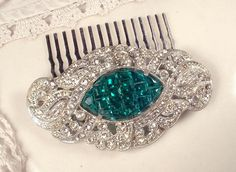 Brooch OR Hair Comb Emerald Green 1920s Art Deco by AmoreTreasure, $108.00