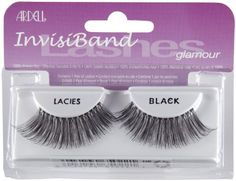 Ardell InvisiBands Lashes Glamour - Lacies Black Fake Eyelashes And Adhesives by Ardell. Save 33 Off!. $3.95. Made with 100% human hair eyelashes.. Black.. The most natural looking strip lash.. These lashes feature an invisible, lightweight band that connects the hair strands to form a strip that ensures secure corners. They are knotted and feathered by hand for perfect uniformity, absolute comfort and an outstanding natural look.