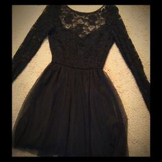 Arden B Black Mini Dress Lacey little black dress with ballerina skirt and dramatic scoop back. Only worn once! Practically new. Arden B Dresses Mini