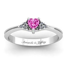 Narrow Heart Ring with Shoulder Accents #jewlr