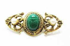 Vintage 1980s Gold Toned Pin With Large Faux Jade by GildedTrifles