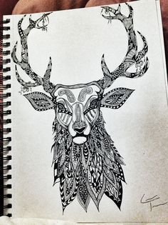 Stag and Strawberries :) Find more and follow me at www.facebook.com/TelferZentangle