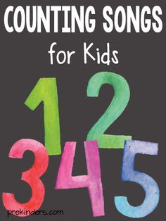 Counting Songs for Kids! A roundup of fun ideas to help preschool and pre-k kids work on their counting skills! Number Songs Preschool, Counting Songs For Kids, Math Songs, Preschool Math Games, Songs For Toddlers, Kindergarten Songs, Teaching Numbers, Numbers Kindergarten, Kids Songs