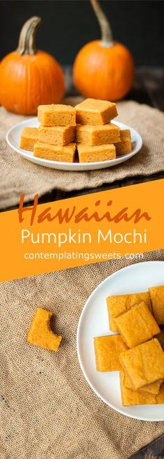 Pumpkin Mochi- A Hawaiian mochi dessert flavored like a pumpkin pie, but with a . Pumpkin Mochi- A Pumpkin Recipes, Hawaiian Desserts, Asian Desserts, Japanese Desserts, Pumpkin Butter, Pumpkin Spice, Delicious Desserts, Dessert Recipes, Rice
