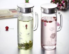 Wholesale Borosilicate Glass Water Pot Size:top dia: 80mm;btm dia:92mm; Height: 255mm  weight:550g Capacity:1350ml