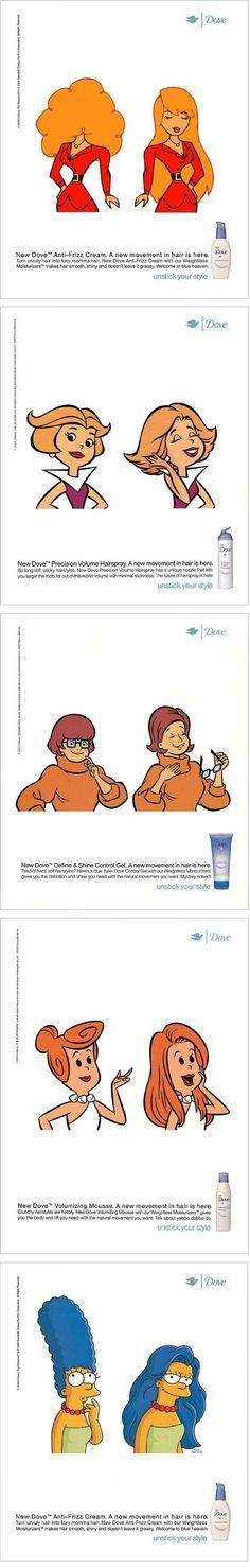 anuncios de #Dove, con personajes de caricaturas jjajaja