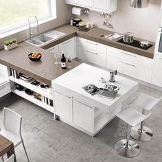 STONE COLLECTION Cucina in rovere antico con piano top in deckton ...