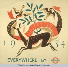 London Transport 'Eastertide' poster by Dora Batty, 1934 London Transport Museum, Ticket Design, Railway Posters, Vintage Travel Posters, Vintage Ads, Vintage London, Vintage Ephemera, Modern Prints, Modern Art