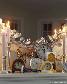 New Years Eve party decorations.  Set clocks as centerpieces and accent pieces around the room.